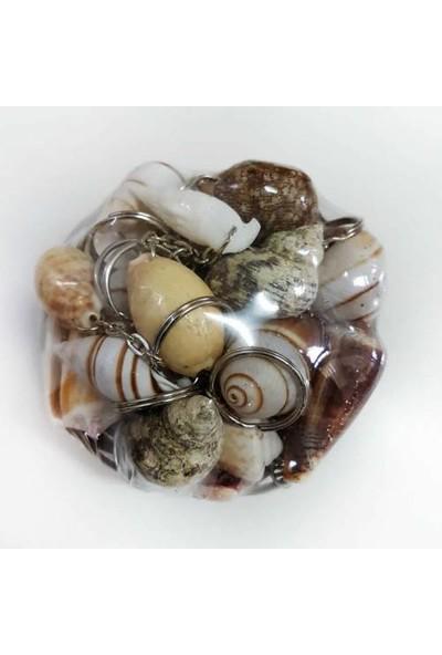 Turkuaz Anahtarlık 25 Adet Doğal Deniz Kabuğu Anahtarlık ve Hasır Sepet 11cm