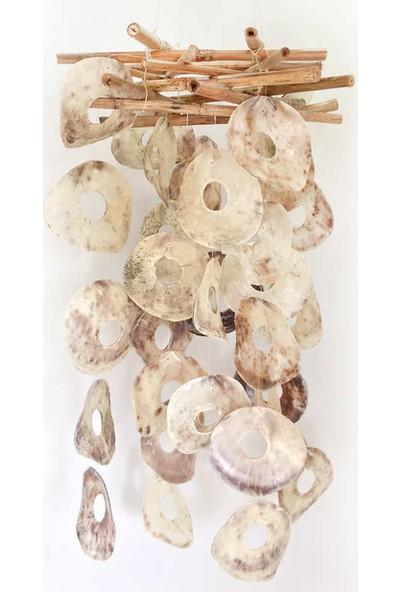 Turkuaz Doğal Deniz Kabuğu ile Tasarlanmış Bambu Placuna Sarkaç 66 cm