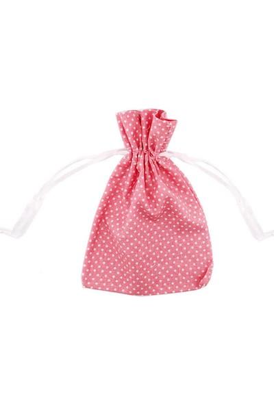 Elite Kumaş Kese 10 Adet Kumaş Kese Puantiyeli Pembe Baby Shower (11cm*14cm)