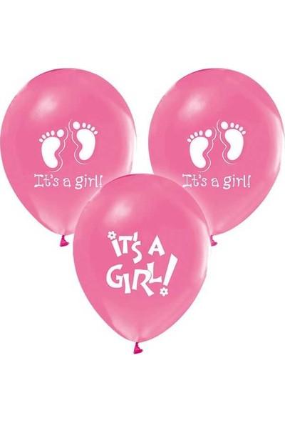 Elite Balon 20 Adet Balon Parti Kutlama Doğum Günü Baby Shower İt's A Girl Pembe ( 25 cm * 30 cm)