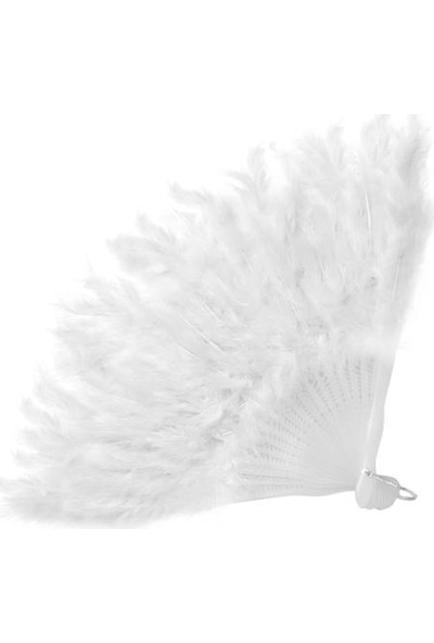 Brode Tüylü Yelpaze Kına Gelin Yelpazesi Beyaz ( 27 cm * 37 cm )
