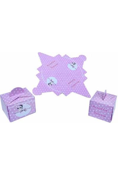 Elite Lokumluk 25 Adet Karton Lokumluk Hoş Geldin Bebeğim Bebek Pusetli Pembe ( 4,5cm * 3,5cm)