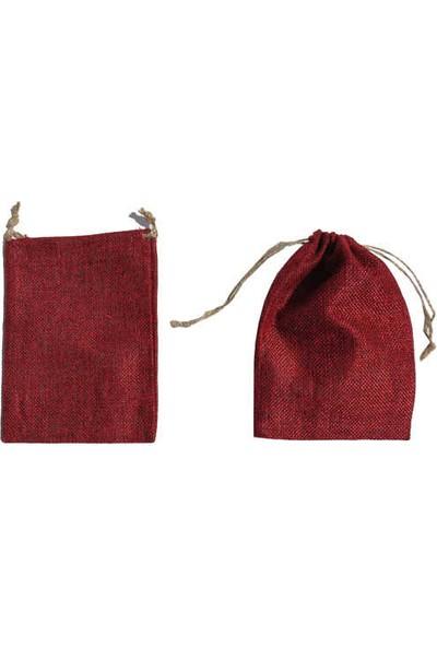 Elite Kese 20 Adet Kese Lavanta Kesesi Çuval Natural Küçük Kırmızı (9cm*12cm)