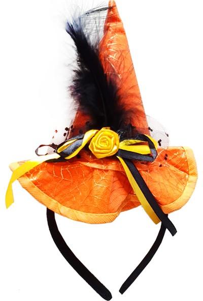 PartiBulutu Güllü Tüylü Cadılar Bayramı Şapkalı Taç Turuncu
