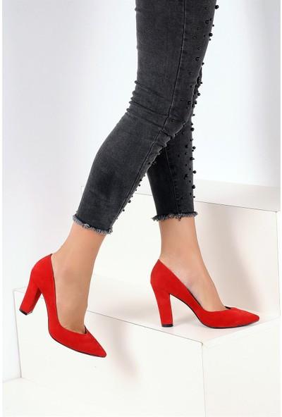 Pembe Potin Kırmızı Nubuk Kadın Ayakkabı