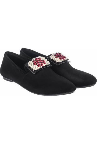 Pembe Potin Siyah Nubuk Kadın Ayakkabı