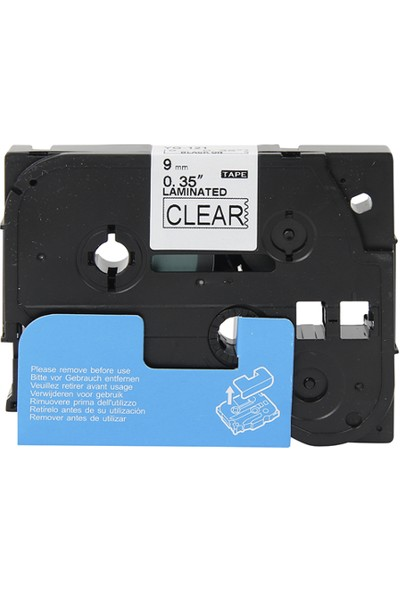 Brother P Touch Tz Tape 9Tze121 Seffaf Etikete Siyah 9Mmx8M