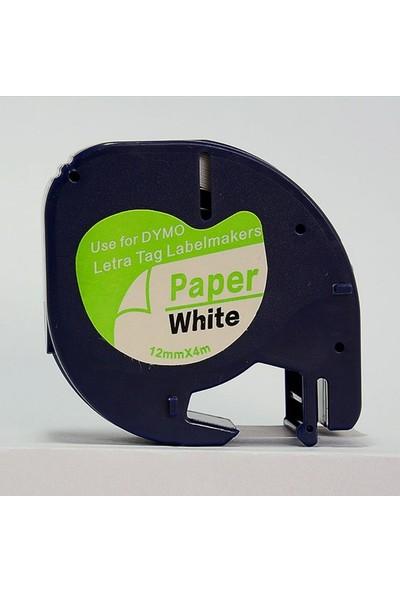 Dymo Lt Letratag Beyaz Etikete Siyah Kagit Serit 91200 12Mmx4M