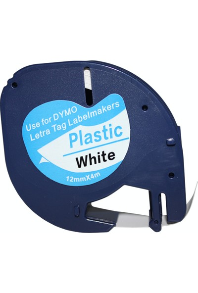 Dymo Lt Letratag Beyaz Etikete Siyah Plastik Serit 91201 12Mmx4M
