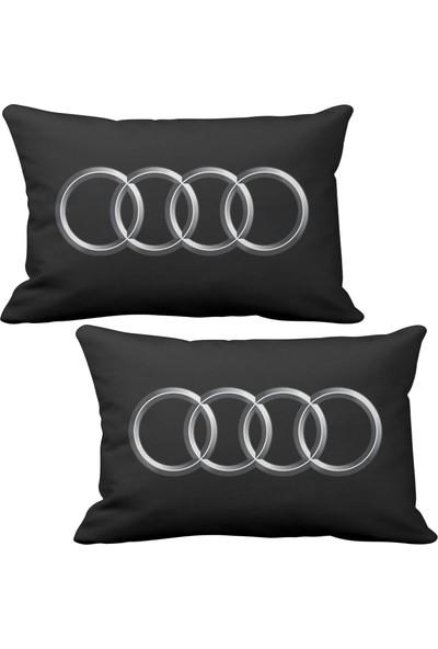 Asr Audi Logo 2 li Lüks Araç Boyun Yastığı Siyah ve Ahşap Logo Anahtarlık