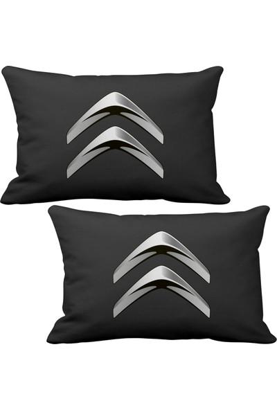 Asr Citroen Logo 2 li Lüks Araç Boyun Yastığı Siyah ve Ahşap Logo Anahtarlık