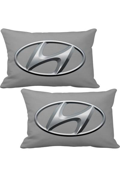 Asr Hyundai Logo 2 li Lüks Araç Boyun Yastığı Gri ve Ahşap Logo Anahtarlık