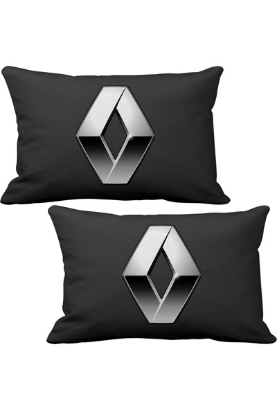 Asr Renault Reno Logo 2 li Lüks Araç Boyun Yastığı Siyah ve Ahşap Logo Anahtarlık
