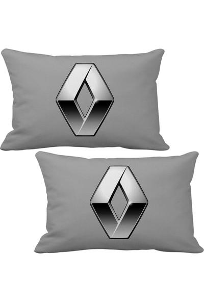 Asr Renault Reno Logo 2 li Lüks Araç Boyun Yastığı Gri ve Ahşap Logo Anahtarlık