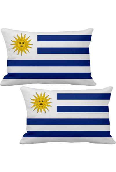 Asr Uruguay Bayrak 2 Li Lüks Araç Boyun Yastığı
