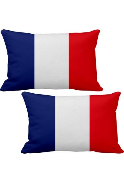 Asr Fransa France Bayrak 2 Li Lüks Araç Boyun Yastığı