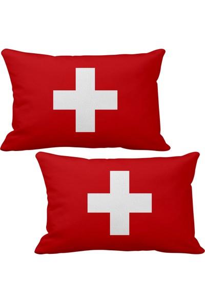 Asr İsviçre Switzerland Bayrak 2 Li Lüks Araç Boyun Yastığı