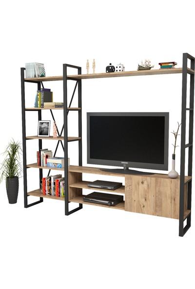 Yurudesign ML21 Iron Metal Tv Ünitesi Kitaplıklı