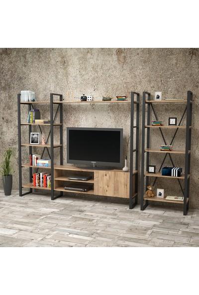 Yurudesign ML22 Iron Metal Tv Ünitesi Kitaplıklı 1.Kombin