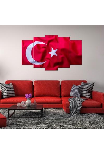 Pastel Tablo Türk Bayrağı Dekoratif 5 Parça Mdf Tablo