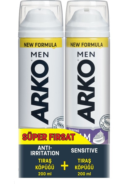 Arko Men 2'li Tıraş Köpüğü Sensitive & Anti Irritation 200 ml