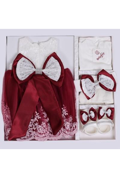Bebeğime Cici Kız Bebek Bordo Elbise Mevlüt Ve Özel Gün Elbisesi