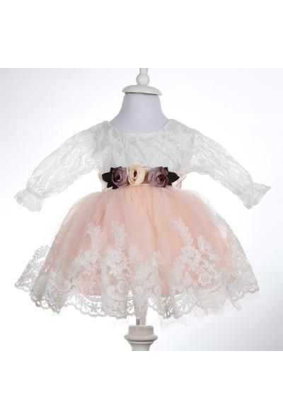 Bebeğime Cici Kız Bebek Kolu Dantelli Pudra Mevlüt Elbisesi