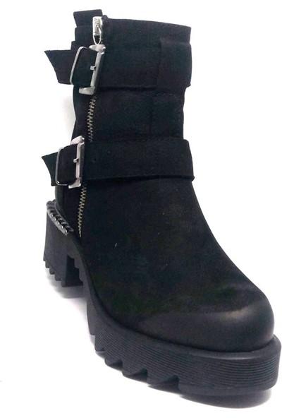 Shop And Shoes 001-679920 Kadın Bot Siyah Nubuk