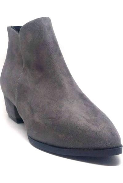 Shop And Shoes 158-1819 Kadın Bot Gri Süet