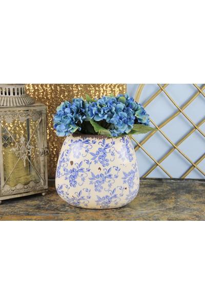 Ancel Eskitme Mavi Çiçekli Vazo 22Cm