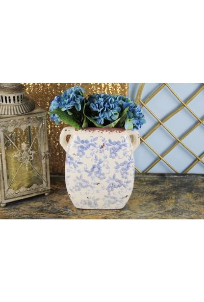 Ancel Eskitme Mavi Çiçekli Kulplu Vazo 26.5Cm