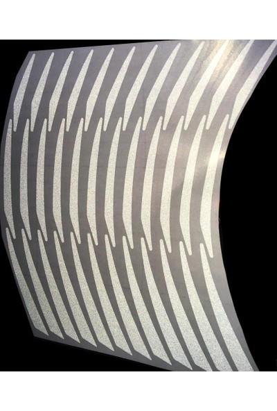 Çınar Extreme Beyaz Pcx Yazılı 3 Parçalı Reflektif Beyaz Pcx Jant Şeridi