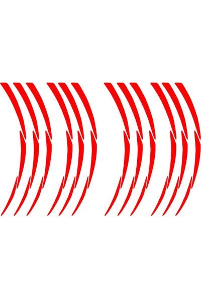 Çınar Extreme Beyaz Pcx Yazılı 3 Parçalı Reflektif Kırmızı Pcx Jant Şeridi