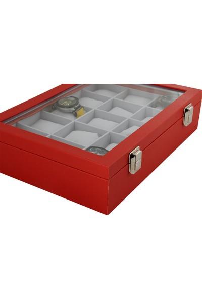 Standmarket 15'Li Kaplama Saat Kutusu Kırmızı İçi Beyaz