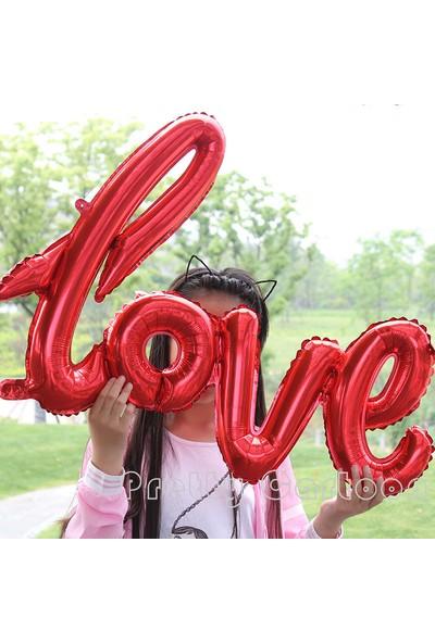 Chavin Kırmızı Love Aşk Yazılı 110 Cm.X 65 Cm. Folyo Balon Cin78