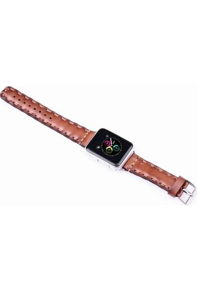 Justin Case Apple Watch Deri Kordon Açık Kahverengi 38 mm