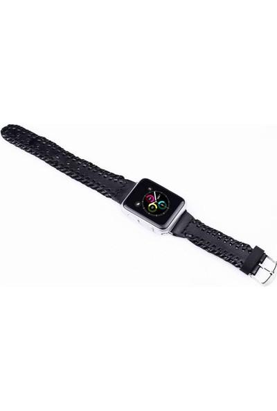 Justin Case Apple Watch Deri Kordon Siyah 38 mm