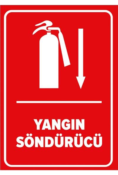 Renkli Reklam Yangın Söndürücü Aşağı Ok Levhası (Dekote Malzeme)