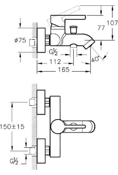 Artema Meta S A41795 Banyo Bataryası, Krom