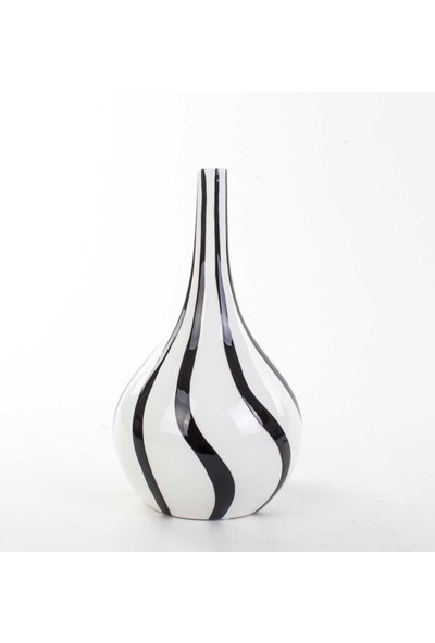 Piyop Siyah Beyaz Vazo 18 x 32 Cm