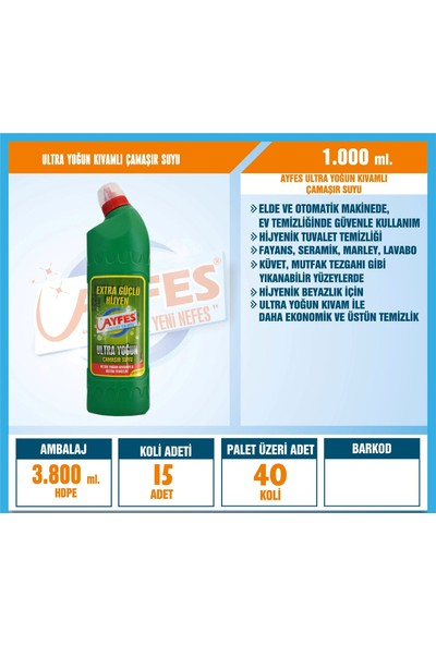 Ayfes Ultra Yoğun Kıvamlı Çamaşır Suyu 1 lt 15 Li