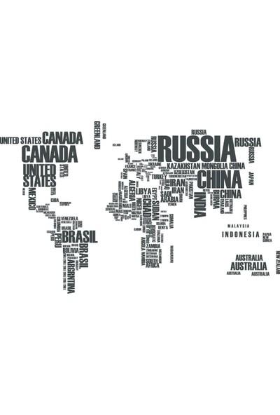 Tilki Dünyası Dünya Haritası Ülke Adları Dekoratif Duvar Sticker