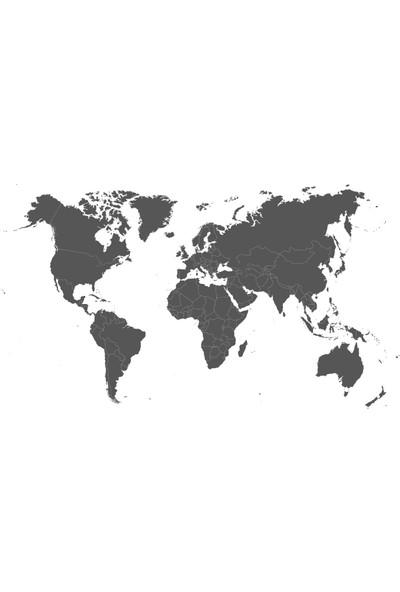 Tilki Dünyası Siyah Renk Dekoratif Dünya Haritası Sticker