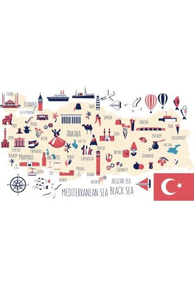 Tilki Dünyası Eğitici Türkiye Haritası Bebek ve Çocuk Odası Duvar Sticker