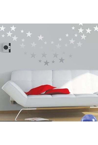 Tilki Dünyası 140 Adet Gümüş Yıldız Set Duvar Sticker