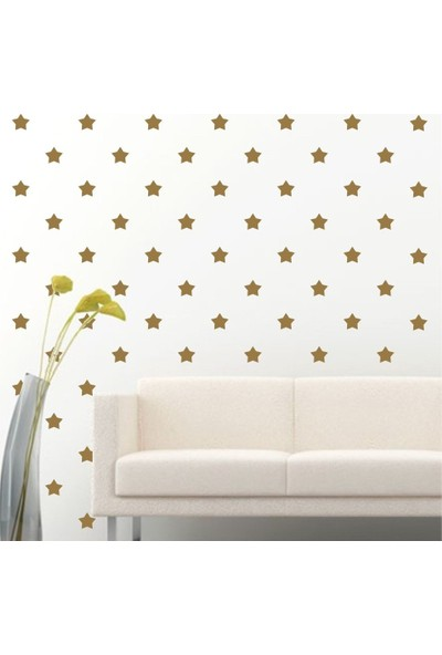 Tilki Dünyası 180 Adet Altın Renk Yıldız Set Bebek ve Çocuk Odası Duvar Sticker