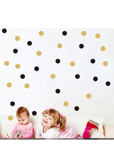Tilki Dünyası 132 Adet Siyah ve Altın Rengi Puantiyeler Bebek ve Çocuk Odası Duvar Sticker
