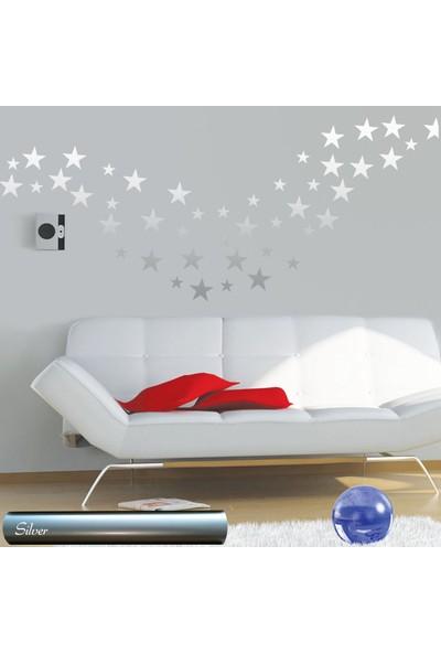 Tilki Dünyası 150 Adet Gümüş Yıldız Set Bebek ve Çocuk Odası Duvar Sticker