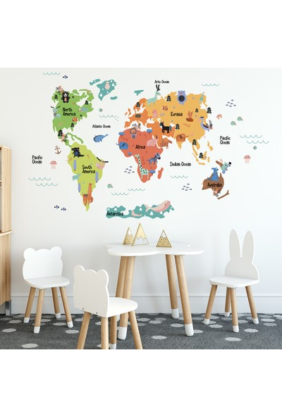 Tilki Dünyası Eğitici Renkli Dünya Atlası Haritası Çocuk ve Bebek Odası Duvar Sticker