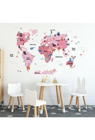 Tilki Dünyası Eğitici Pembe Renkli Dünya Atlası Haritası Çocuk ve Bebek Odası Duvar Sticker